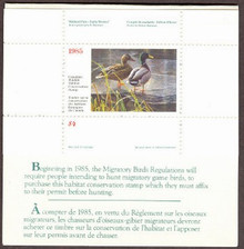 Canada Duck Stamp 1985 Mallards Booklet