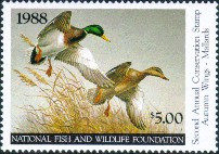 National Fish and Wildlife Duck Stamp 1988 Mallards