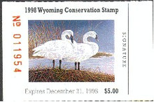 Wyoming Duck Stamp 1998 Trumpeter Swan