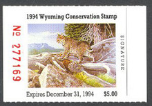 Wyoming Duck Stamp 1994 Bobcat. Purple Variety