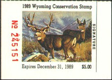 Wyoming Duck Stamp 1989 Mule Deer