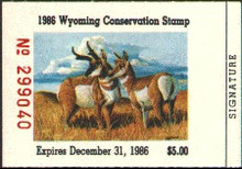 Wyoming Duck Stamp 1986 Pronghorn Antelope