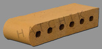 "T7011 BRICK COPING SBN   LA PAZ 3-1/2"" X 2-3/16"" X 11-1/2"
