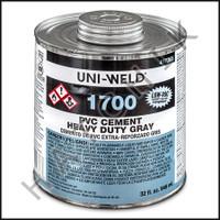 V1004 PVC CEMENT QUART GREY H D COLOR: GRAY