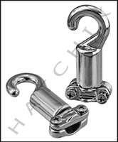 "X1022 ROPE HOOK-CLEAT TYPE FOR 3/8 & 1/2"" CHROME BAG OF 2"