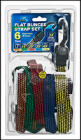 "EE1060 FLAT BUNGEE STRAPS SET CONTAINS:2 PC X 12"" AND 1 PC OF EACH: 15"",25"",35"",45"""
