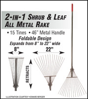 "F5099 LEAF RAKE 2 IN 1 SHRUB & LEAF ALL METAL RAKE 8"" TO 22"" FOLDABLE"