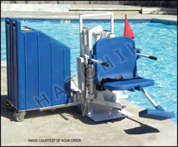 H1330 AQUA CREEK PATRIOT PORT. POOL LIFT CAPACITY:450#  F-12PPL-HD-AT2 W/Concrete wts included