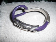 Purple leather double bracelet. Antique silver accents and hook clasp. 5 inches