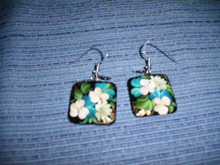 White Pansies Earrings