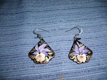 White and Purple Iris Earrings