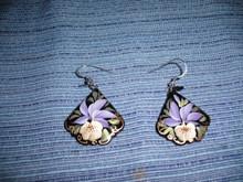 White and Purple Iris Earrings