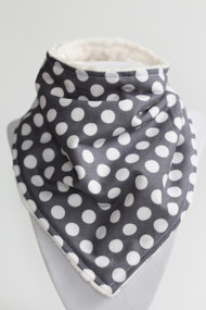 Grey Dot bandana bib with ivory minky inside.
