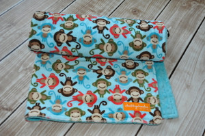 light teal monkey stroller blanket with light teal back.