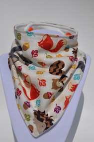 Fall Wildlife bandana bib with organic bamboo back.