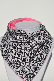 Black Damask with pink minky backing