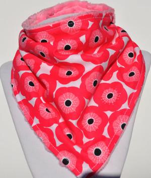 Pink Poppy bandana bib with pink minky back