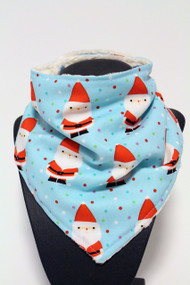 Santa bandana bib with ivory minky back