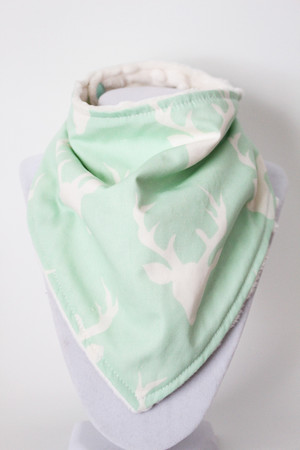 Bucks on Mint bandana bib with ivory minky back.