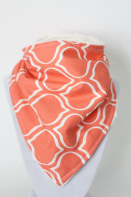 Coral Design bandana bib with ivory minky back