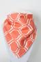 Coral Design bandana bib with ivory minky back