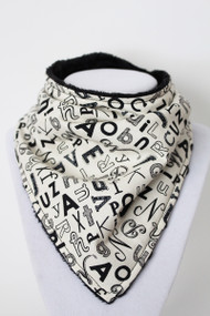 B&W Alphabet bandana bib with black minky back.