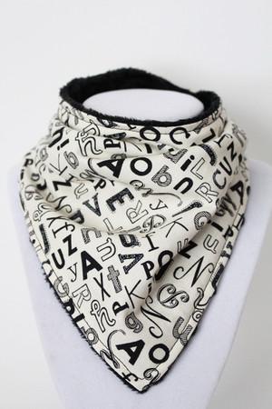 B&W Alphabet bandana bib with black minky back.