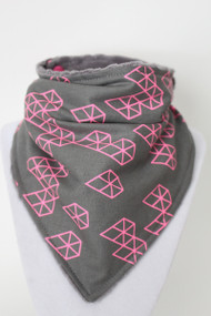 Pink Diamonds Bandana Bib with grey minky back. Pattern placement varies.