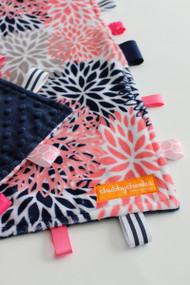 Navy/Pink Floral Blooms large tag blanket with navy minky back.