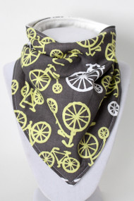 Bicycles in Yellow bandana bib with bamboo back.