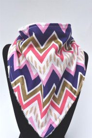 Purple and Gold ivory minky backed bandana bib