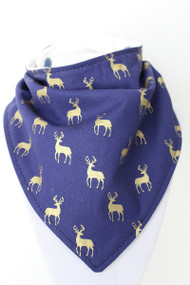 Gold Deer on Navy bandana bib with bamboo back