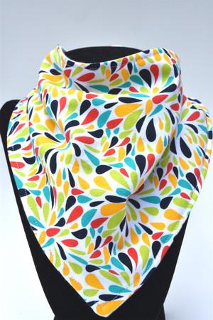 Colour Bursts bandana bib with bamboo backing