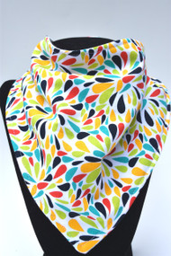 Colour Bursts bandana bib with bamboo backing