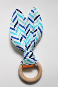 Blue Herringbone wooden teether