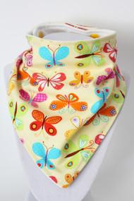 Yellow Butterfly bandana bib with organic bamboo back.