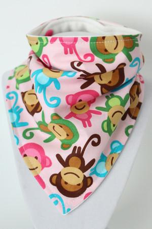 Pink Monkey bandana bib with organic bamboo back.