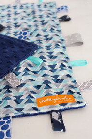 Blue Angles tag blanket with navy minky backing.  Size large