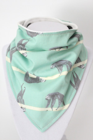 Sloths bandana bib with bamboo back.