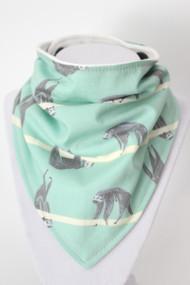 Sloths bandana bib with bamboo back.