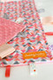 Pink and Coral Angles with pink minky backing tag blanket size large