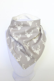 Tiny Buck in Mist bamboo backed bandana bib