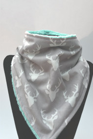 Tiny Buck Forest in Mist bandana bib with light teal backing