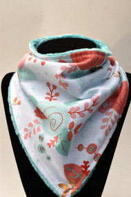 Rose Dusted bandana bib with light teal minky back
