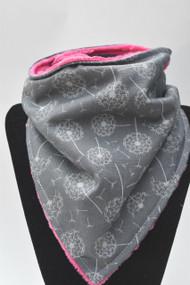 Dandelions bandana bib with hot pink minky back