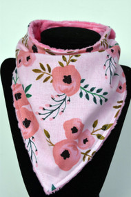 Pink on Pink floral bandana bib with pink minky back