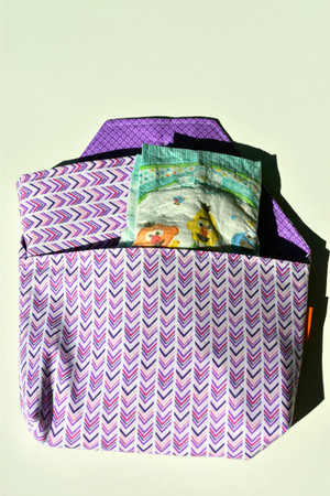 Diaper-to-go bag in Purple chevron pattern.