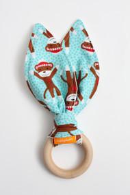 Sock Monkey (Blue) wooden teether