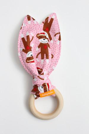 Sock Monkey (Pink) wooden teether