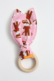 Sock Monkey (Pink) wooden teether
